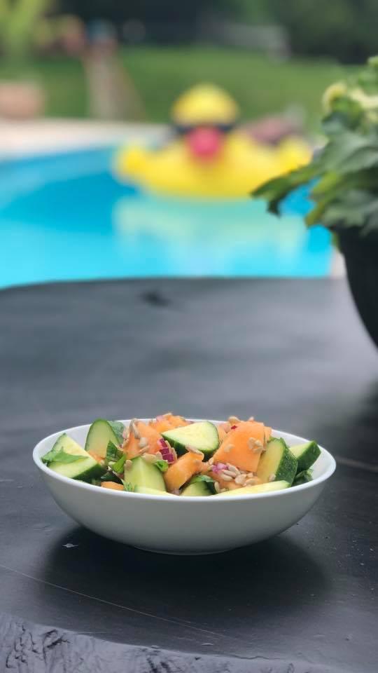 Cantaloupe salad.  https://www.wocdetox.com/summer-5-day-detox.html